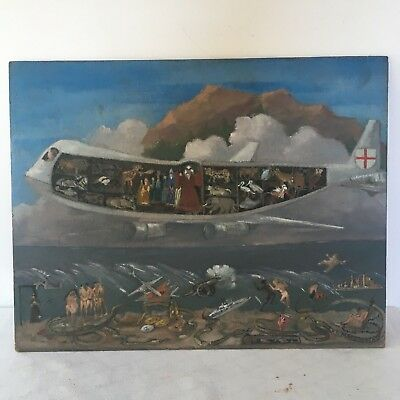 Naive folk art painting. Apocalypse, Noah's ark. Signed oil on board 1977 Weird.