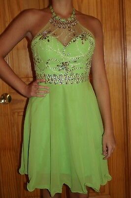 Lime Green one piece homecoming dress size 4 - lots of bling!