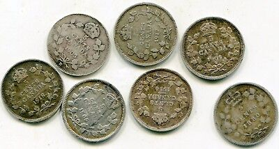 Canada 5 Cents Silver lot of (7) rough coins  lotsep4657