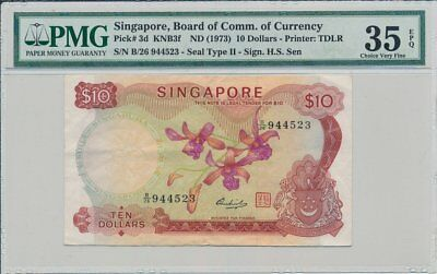 Board of Commissioners of Currency Singapore  $10 ND(1973)  PMG  35EPQ