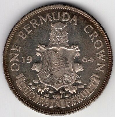 1964 Bermuda One 1 Crown Large Silver World Coin