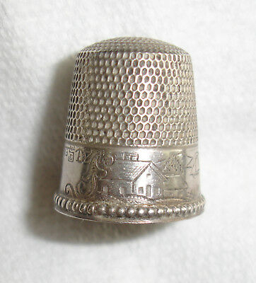 Antique Sterling Scenic Thimble B C in Big S-Stern-House Boat Lighthouse-As Is