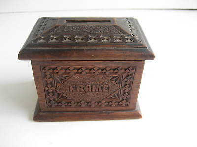 Antique Treen Trench Art 4 Leaf Clover Pattern French Money Box