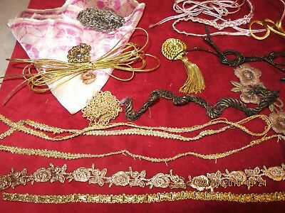 Antique -Vintage Mixed Lot Metallic Trim Ribbon Gimp  Silk Doll  Millinery Lot10