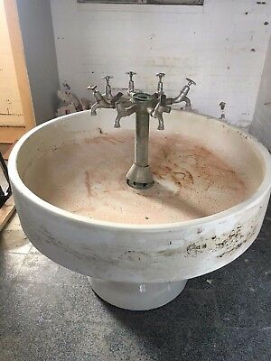 Vintage Large Circular Factory Communal Sink with taps and pedestal