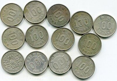 Japan 100 Yen mixed lot of (13) vintage silver coins   lotsep4594
