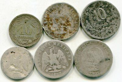Mexico  mixed lot of (6) vintage silver coins   lotsep4615