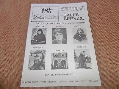 """The Beatles Official Fan Club Superpix Sales Service Order Form For Series """"d"""""""