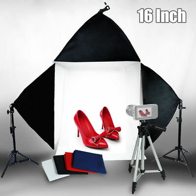 "Photo Studio 16"" Photography Light Tent Backdrop 3 x Softboxes Kit Cube Lighting"