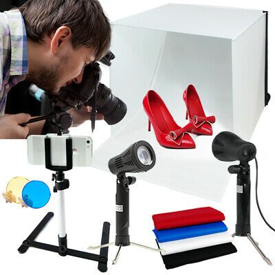 """16"""" Photo Studio Light In A Box Cube 4 Backdrops Continuous Lighting Tent Kit"""