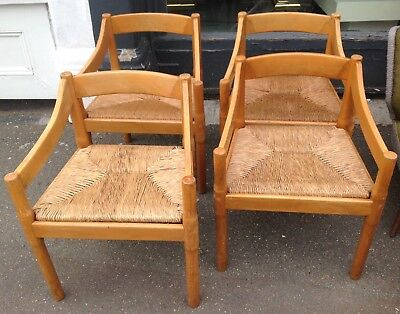"Four Vintage Vico Magistretti ""Carimate"" Pine(Lightwood)Carver Dining Chairs"