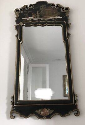 Large Antique French Chinoiserie / Indochine Green Gold Mirror - Sold as Seen