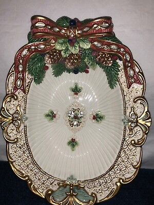 Fitz and Floyd Florentine Christmas Vegetable Dish~Never Used~Ribbon~Pine Cones