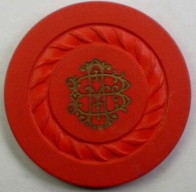 Fancy HB? Hot Stamped Cord Mold Location Unknown Clay Club Poker Chip