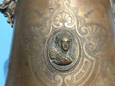 RARE Meriden Britannia Co c 1858 ORNATE Silver Plate Copper DOUBLE WALL PITCHER