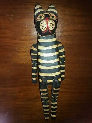 Super Large Rustic Primitive Folk Art Carved Cat Woodend Jointed Cat Striped Cat
