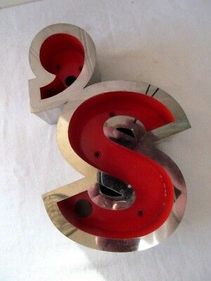 Reclaimed 3D Chrome Stainless Steel Shop Sign Letter S'