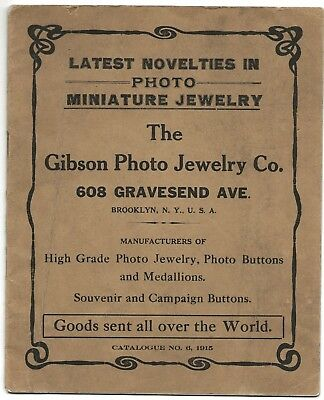 1915 illustrated miniature photo jewelry catalog - buttons & badges