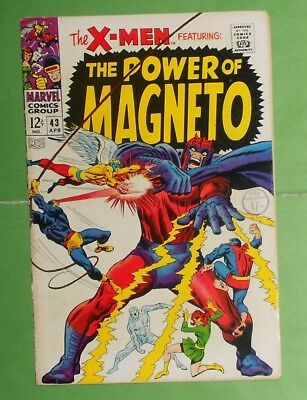 X-Men # 43 , Silver Age Marvel Comic ,  The Power Of Magneto.