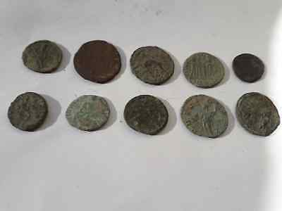 Lot Of 10 Ancient Roman Coins Beautiful Uncleaned