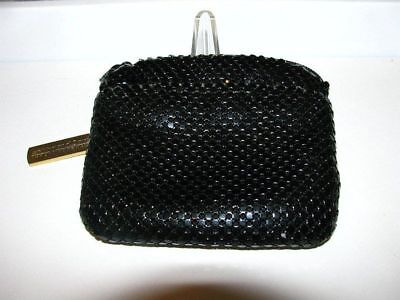 Whiting Davis Black Change Purse w/Outer Pocket & Zipper Closure
