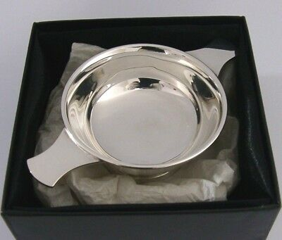 Scottish Solid Silver Whisky Quaich Cup 2005 Boxed Mint Barware