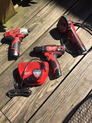 Milwaukee M12 Drill, Impact, Inspection camera and Charger with extra battery