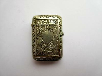 ANTIQUE VICTORIAN SILVER PLATED VESTA CASE, MATCH SAFE - Aesthetic Period!