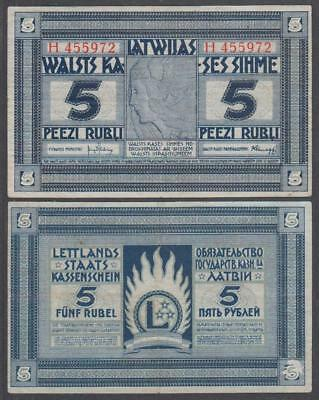 ND (1919) Latvian Government Currency Note 5 Rubli