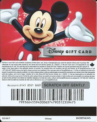 New Disney Mickey Mouse Mint Gift Card From Canada Bilingual No Cash Value