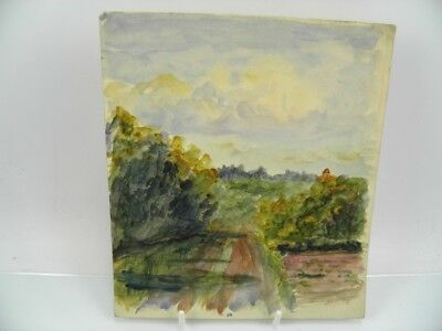 Antique early 20th century English School watercolour painting rural landscape
