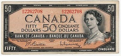 1954 Bank Of Canada Fifty 50 Dollar Bank Note Bh 2262708 Nice Bill