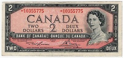 1954 Bank Of Canada Two 2 Dollar Replacement Bank Note *kg 0355775 Nice Bill