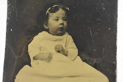 "Victorian bABY Girl tinted Photo TINTYPE measuring 2.2 X 3.5"" circa 1870 TT-129"