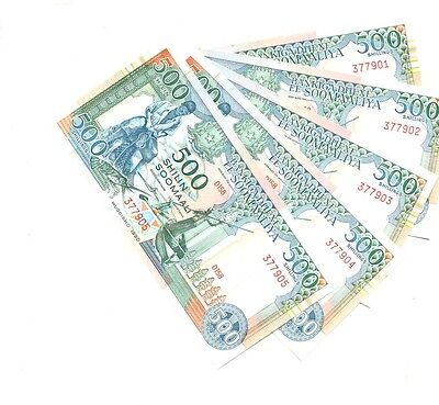 Somali 1990 500 Shillings 5 Consecutively Numbered Currency Notes Cu 6469E