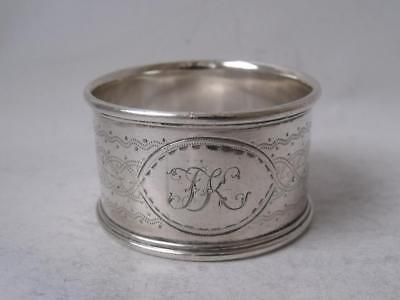 Antique Victorian Hand-Engraved Solid Silver Napkin Ring 1876/ H 2.5 cm/ 30 g