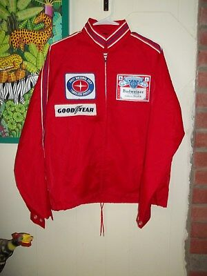 """Vtg.budweiser Nylon Zip Jacket Never Worn Ex.cond. """"bud Racing"""" 4 Patches Large"""