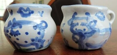 "M A Hadley Pottery Miniature Or Individual Sugar And Creamer Set 2"" High"