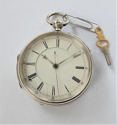 1904 Silver Cased Fusee Chronograph Centre Second Pocket Watch Working