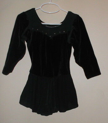 Danskin Freestyle Girls Dance Ballet Lyric Black Velvet Skirted Leotard Size 7/8