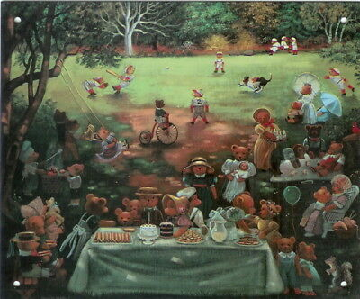 "Famous ""Bear Picnic"" Print Reproduced on Metal"