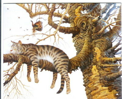 New Charles Wysock Metal Sign-Cat in Tree