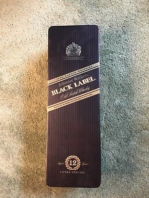 Johnnie Walker Black Label Old Scotch Whiskey Tin Can Empty Box