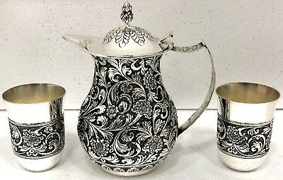 .925 Sterling Silver Antique Floral Design Water Jug Set 2 Glasses Decorative