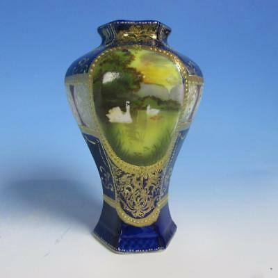 Hand Painted Nippon China - Cobalt Blue - Swan Scenic Vase - 7 inches