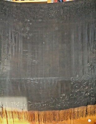 """Beautiful Vintage Antique Black Silk Tablecloth, Embroidered Flowers, Lovely 58"""""""