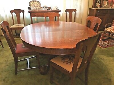 Antique Quarter Sawn Oak Dining Table Claw Foot Pedestal w 5 Leaves and 6 Chairs