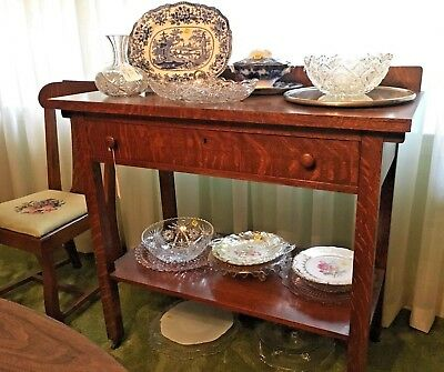 Antique Quarter Sawn Oak Sideboard Buffet Table for Dining Room