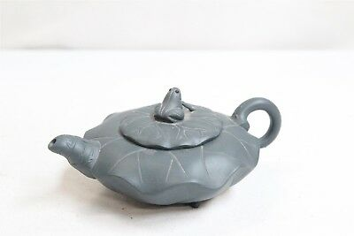 Chinese Yixing Frog Lillypad 3 Shell Footed Pottery Teapot Signed Green