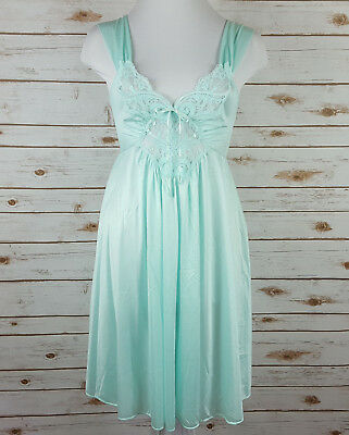 Vintage Olga Nightgown Size M Knee Length Short Aqua Stretch Lace Bow 91070